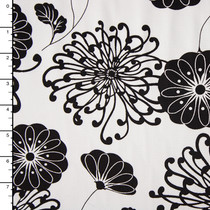 Black on White Floral Stretch Cotton Twill