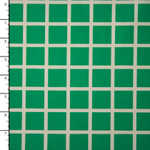 Offwhite and Green Windowpane Check Midweight Stretch Cotton Sateen