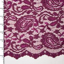 Rich Plum Paisley Floral Stretch Lace