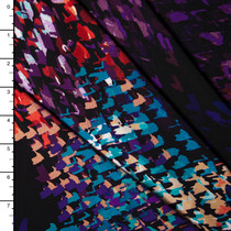 Black, Purple, Red, Teal Abstract Print Stretch Poly Knit