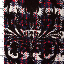 Damask Floched Navy, Red,and Offwhite Plaid Wool Coating