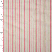 Soft Pink and Ivory Stripe Stretch Cotton Poplin