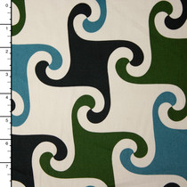 Olive, Black, Teal, and Ivory Stretch Twill Print