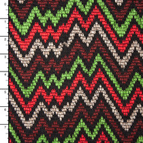 Red, Green, Rust, and Taupe on Black Jagged Chevron Sweater Knit