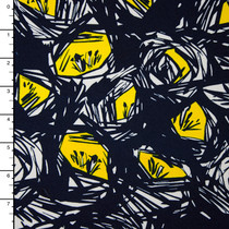 Navy, Yellow and White Birds Nest Abstract Stretch Knit Print