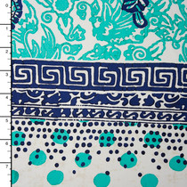 Blue and Aqua Eclectic Floral Border Print Nylon/Lycra
