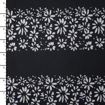 Light Grey Flower Stripe on Black Nylon/Lycra
