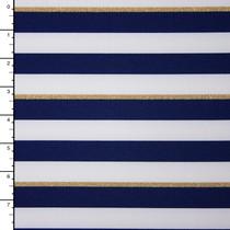 Navy, White, and Glittering Gold Stripe Nylon/Lycra