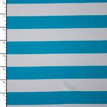 Baby Blue and White Striped Nylon/Lycra