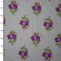 Purple Diamond Roses on Grey Midweight Stretch Poplin Print