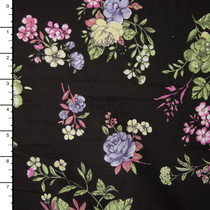 Lavender and Sage Green Roses on Black Cotton Lawn Print