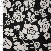 Black and White Floral Print Swiss Dot Cotton Lawn