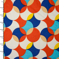 Orange, Blue, White, and Yellow Overlapping Circles Geometric Cotton Lawn Print