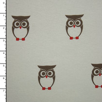 Owls on Winter White Cotton Jersey Knit Print
