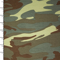 Olive and Brown Camouflage Stretch Jersey Knit