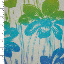 Ombre Flowers on Slubbed Cotton Jersey Knit