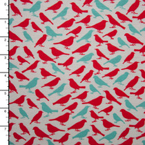 Red and Aqua Birds Cotton Jersey Knit Print