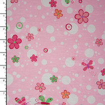 Pink Butterflies and Flowers Stretch Jersey Print