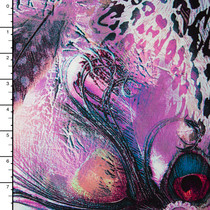 Purple Peacock Abstract Rayon Challis