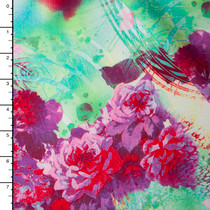 Pink and Green Rose Abstract Rayon Challis