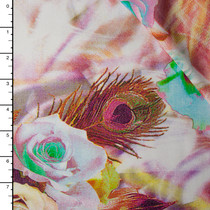 Blush Peacock Rose Abstract Rayon Challis