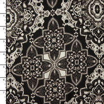 Black and Offwhite Ornate Tiled Rayon Challis