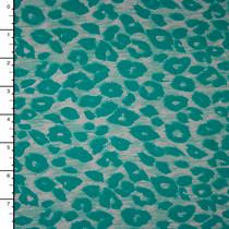 Turquoise on White Streaked Leopard Print Nylon/Lycra