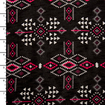 Hot Pink and White Tribal Pattern on Black Slubbed Jersey Knit