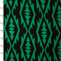 Bright Green on Black Modern Tribal Stretch Jersey
