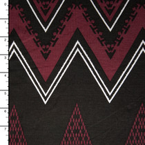 Wine, Black, and White Multi Pattern Chevron Jersey Print