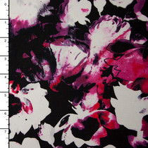 Hot Pink and Black Tie Dye Silhouetted Floral Print Stretch Jersey Knit Fabric