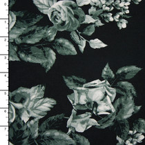 Greyscale Rose Clusters on Black Brushed Stretch Jersey Knit