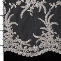 Ivory Reimbroidered Beaded Bridal Lace