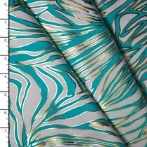 Aqua, White, and Metallic Gold Zebra Print Nylon/Lycra