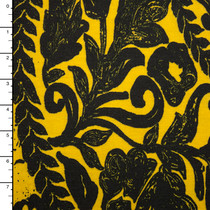 Grunge Black Floral Scrollwork on Yellow Ponte De Roma