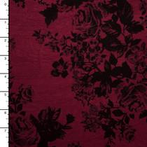 Black Roses on Wine Stretch Rayon Jersey Knit