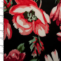 Large Red and Pink Floral on Black Techno Knit