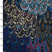 Blue and Purple Layered Scallop Print Stretch ITY