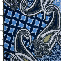 Blue Paisley Patchwork Stretch ITY Print