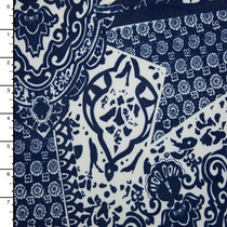 Blue and White Tossed Tiles Stretch ITY Print