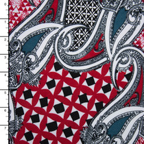 Red Paisley Patchwork Stretch ITY Print