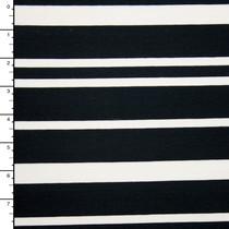 Black and Offwhite Staggered Stripe Stretch Ponte De Roma