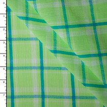 Lime and Teal Plaid Cotton Gauze