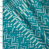Aqua Diagonal Tribal Rayon Challis Print