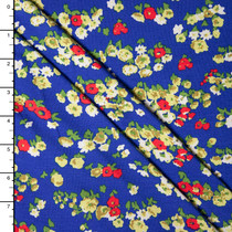 Green and Red Mini Floral on Bright Blue Stretch Rayon Jersey Knit