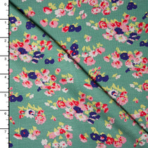 Pink and Blue Mini Floral on Sage Green Stretch Rayon Jersey Knit