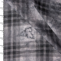 Grey Tie Dye Plaid Rayon Voile