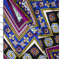 Purple and Blue Patterned Chevron Rayon Challis Print