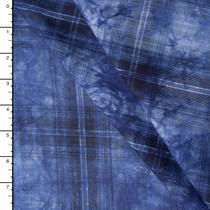 Deep Blue Tie Dye Plaid Rayon Voile