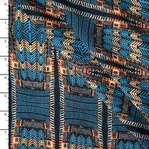 Blue and Orange Tribal Pattern Rayon Challis